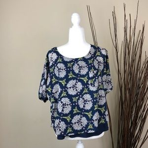 3/$15 ANTHROPOLOGIE Blue Abstract Floral Blouse M